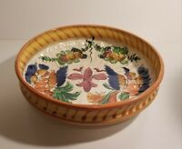 Early Mid Century 3 Footed Centerpiece Bowl - Hand Paint Crackle Glaze Finish