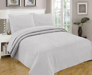 Bedspread Coverlet 3 Pcs Set Oversize Queen or King Size 8 Colors