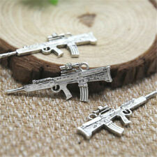 10pcs Machine Gun Charms Silver tone 2 sided Submachine gun pendant 45x17mm