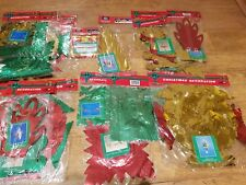 10 x Vintage 1980s 1990s Christmas Foil Decorations Ceiling Hanging Garlands