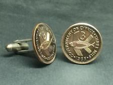 1955 Cyprus coin cufflinks 3 mils art flying fish 19mm