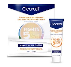 Clearasil Stubborn Acne Control 5 In 1 Spot Treatment Cream Benzoyl Peroxide 10%