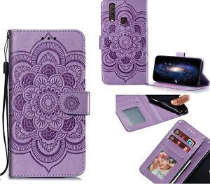 Vivo Y12 Pu Leather Wallet Case Embossed Mandala Pattern