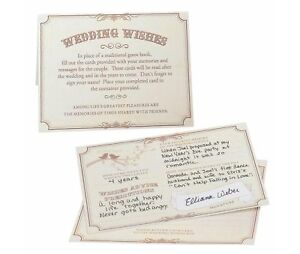 Set of 48 Tan Wishes Cards wedding guest book alternative