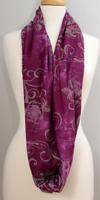 Batik Inspired Deep Purple with Gray Floral Scrolls- Infinity Cowl fo Women