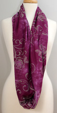 Batik Inspired Deep Purple with Gray Floral Scrolls- Infinity Cowl fo Women