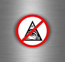Sticker decal art wall car moto NO illuminati pyramid eye of providence see