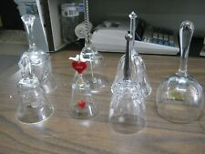 Lot of 7 Clear Crystal Bells Etched Hand cut 1988 Valentine w/ Heart Clapper Etc