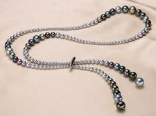 """new 48"""" 4-10mm genuine natural tahitian black multicolor round pearl necklace"""