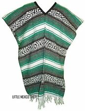 Traditional Mexican Poncho TEAL - ONE SIZE FITS ALL Blanket Maya Aztec