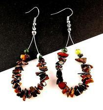 1 Tear Drop Pair of Tigers Eye Gemstone Chips Hoop Dangle Earrings - # B309