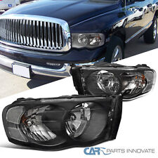 2002-2005 Dodge Ram 1500/2500/3500 Euro Replacement Black Clear Headlights Lamps