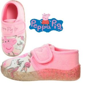 GIRLS PEPPA PIG SLIPPERS PINK UNICORN TOUCH FASTENING HOUSE SHOES SIZE 5 -10