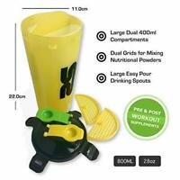 Protein Shaker Bottle  800ml28oz Dual Chamber Cup  Yellow  Enjoy Two Drinks