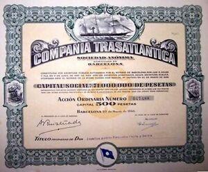BIG BEAUTIFUL RARE 1946 SPAIN - CUEBA SHIPPING BOND! 4 MARITME VIGNETTES cv $250