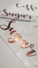 Set of 3 Brushed Copper Vinyl Decal sticker Bread Sugar Tea Coffee Treats
