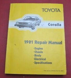 1981 Toyota Corolla Repair Manual TE72L (Engine, Chassis, Body, Electrical)