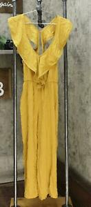 xhilaration Womens Sleeveless Open Back Frill Neck Jumpsuit Yellow XS