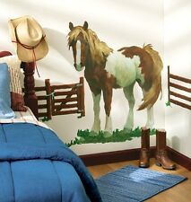 WALLIES PONY with FENCES wall stickers 4 stickups Horse Mural Farm decor Corral