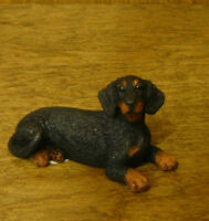 Castagna Mini Dog Figurines #372N BLACK DACHSHUND,  Made in Italy, NEW in Box