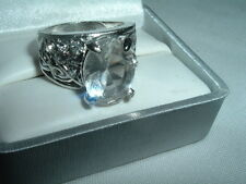 HUGE OVAL CUT CUBIC ZIRCONIA COCKTAIL RING, SIZE 8 IN RING BOX