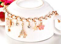 New 18K Gold / Rose Gold GF Lucky Ace Flower Swarovski Crystal Charms Bracelet