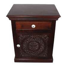 Taj Mahal Solid Mango Wood Carved Door Nightstand-End Table-Accent Table