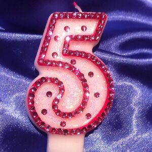 Birthday Candle Five Fifth Number Five Diamante Pink Princess Party FREEPOST
