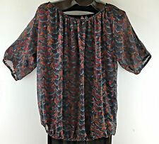 Motherhood Maternity Top Blouse Womens SZ M Short Sleeve Semi-Sheer Fall Colors