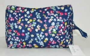 Vera Bradley LARGE COSMETIC SCATTERED WILDFLOWERS Case Travel Bag Quilted Cotton