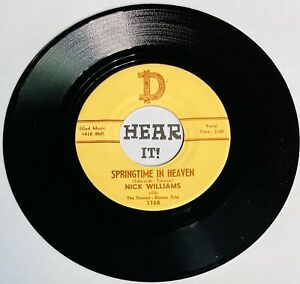 Hillbilly Johnny Horton Tribute 45 NICK WILLIAMS, TREECE REECE TRIO on D RECORDS