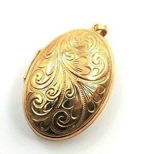 Women's 9ct Gold Photo Pendant Engraved Locket Vintage Collectable Jewellery