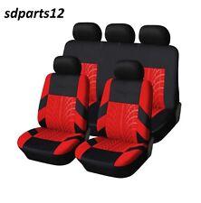 Pour Peugeot Audi 9 Pcs Housses Couvre Sieges Fabric Rouge-Noir