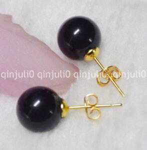 Pretty 10mm Jewelry Natural Black Agate Jade Gemstone Ball Gold Stud Earrings