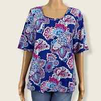 Chico's Paisley Floral Print Scoop Neck Shirt Top 2 LARGE 12 14 Blue Pink Purple