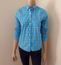 Hollister Womens Plaid Shirt Size XS Top Blouse Checks Turquoise Blue & White