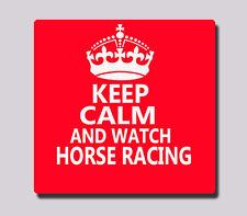 Keep Calm and Orologio corse di cavalli Coaster in Legno Retrò Regalo