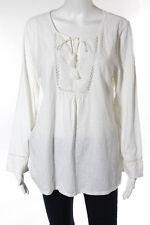 Soft Joie White Cotton Knit Contrast Tie Neck Tunic Top Size Medium