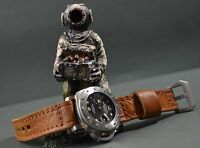 MA WATCH STRAP 26 24 22 MM CALF LEATHER SOFT FITS PANERAI,ETC VINTAGE BUZO BROWN