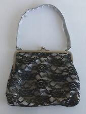Vintage Women's Black Lace Small Makeup Bag 1990's