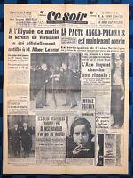La Une Du Journal Ce Soir 7 Avril 1939 Réélection D'Albert Lebrun