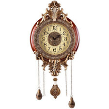 LARGE Size Silent Luxury Vintage Royal Metal Artwork Wood Wall Clock Pendulum