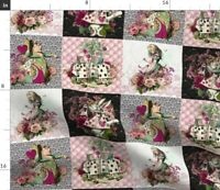 Queen Rabbit Time Patchwork Alice Wonderland Spoonflower Fabric by the Yard