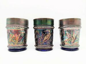 LOT OF 3 Antique Dugan Cobalt Blue Carnival Glass Tumbler Stork&Rushes Bead Band