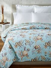 UNDER THE SEA ** King ** QUILT : BLUE GREEN SHELL CORAL BEACH HOUSE COMFORTER