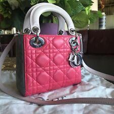 1dcc9024b966 Christian Dior Mini Lady Dior Crossbody Lambskin Leather Trio Color Bag  Purse