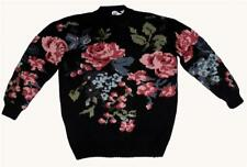 VTG Modern Essentials Shabby Roses on Black Hand-Loomed Long Sweater Wms L NWT