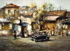 "ODESSA Jewish Village Painting Giclee Canvas 16""x20"" Impressionism Cityscape Art"