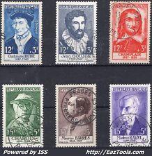 FRANCE SERIE CELEBRITES DE 1956 N° 1066/1071 AVEC OBLITERATIONS CHOISIES
