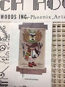 "Decorative Woods Vintage Owl Kachina Latch Hook Canvas 24x36"""